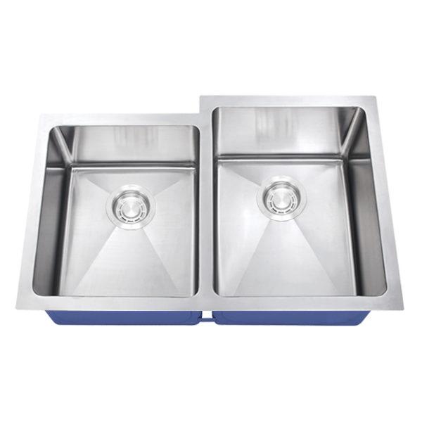 Dakota Signature Series 40/60 Micro Radius Offset Undermount 16 Gauge Stainless Steel Sink