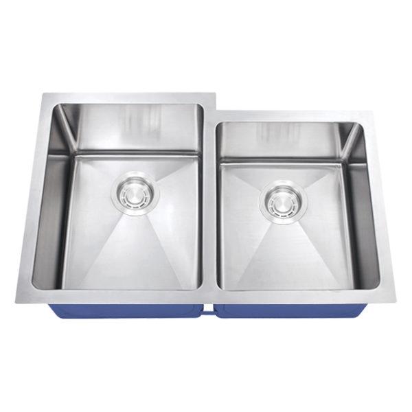 Dakota Signature Series 60/40 Micro Radius Offset Undermount 16 Gauge Stainless Steel Sink