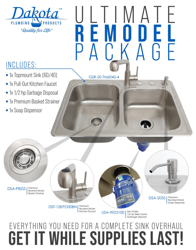 Ultimate Remodel Package of top mount sink, faucet, drain, and grabage disposal.